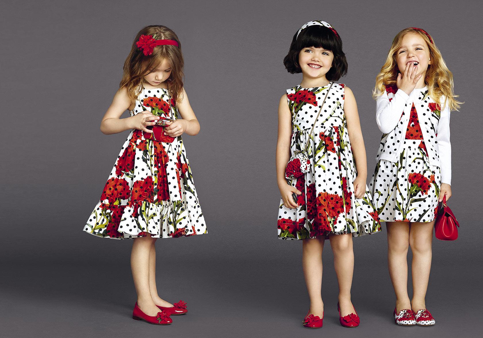 vestito bambina con pois e fiori