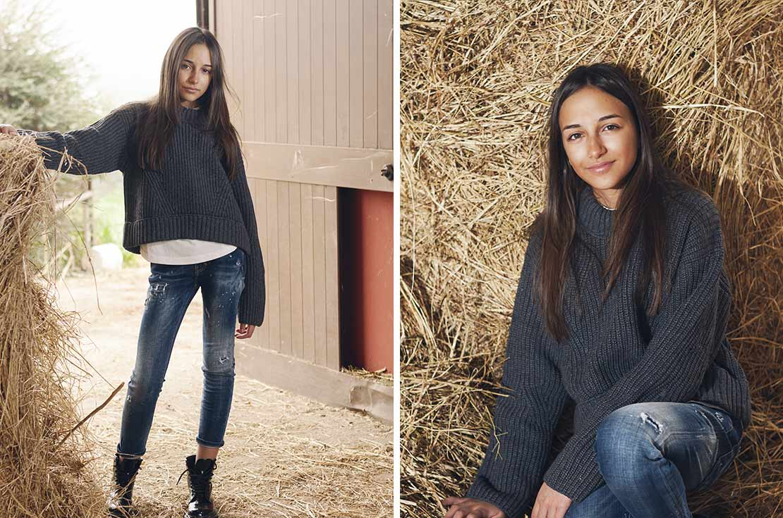 Maglione grigio medio con taglio corto e fondo asimmetrico firmato Dsquared2 Girl