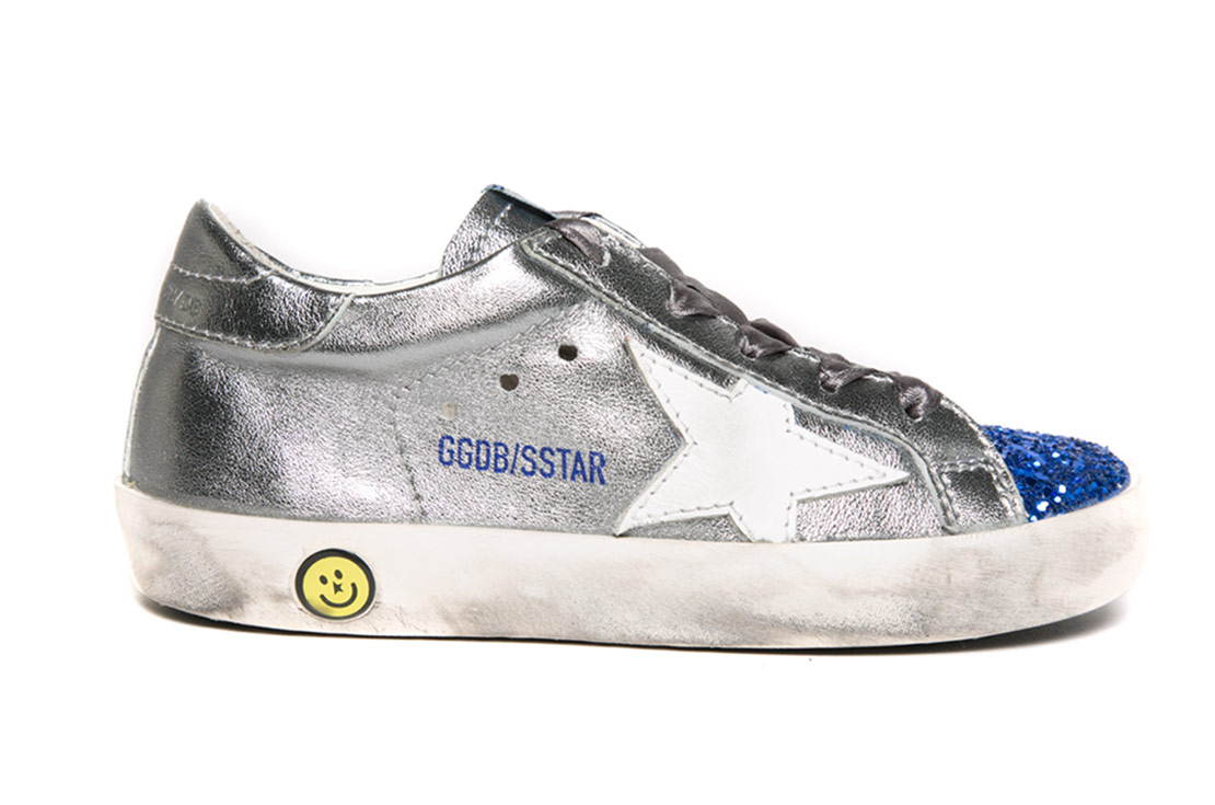Golden Goose bambino Super Star Silver & Blue Glitter primavera estate 2018