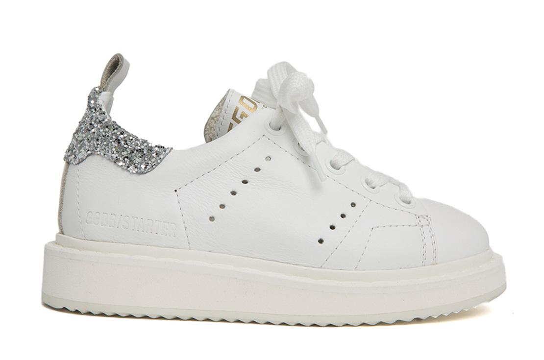 Golden Goose Sneaker Starter Bianca con Glitter argento