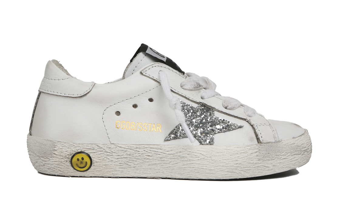 Golden Goose Super Star Glitter in pelle bianca