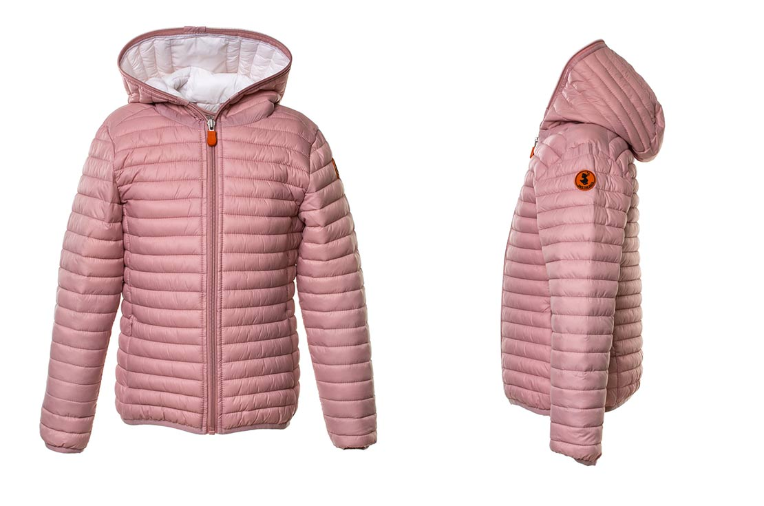 Piumino Bomber Giga Bambina e Ragazza Rosa firmato Save The Duck 100% Animal Free