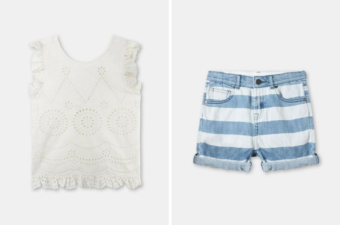 Top e Jeans corto Bambina firmato Stella McCartney Kids - nuova collezione Primavera/Estate 2018