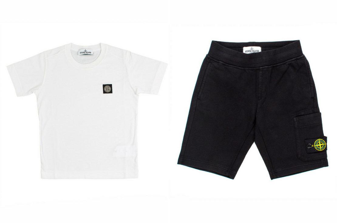 Completo bambino e ragazzo T-shirt e bermuda Stone Island Junior - annameglio.com shop online