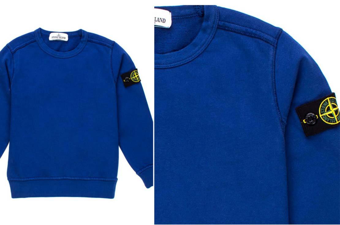 Felpa girocollo blu china firmata Stone Island Junior - annameglio.com shop online abbigliamento bambino
