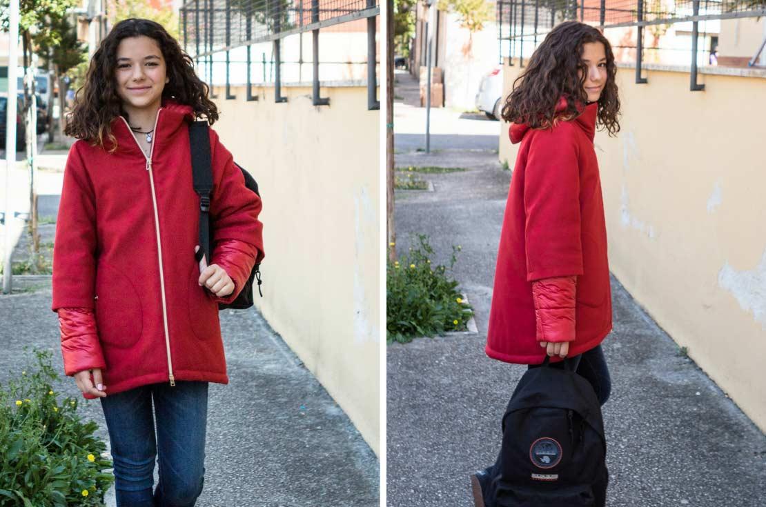 cappotto piumino rosso ciliegia in misto lana firmato Herno - annameglio.com